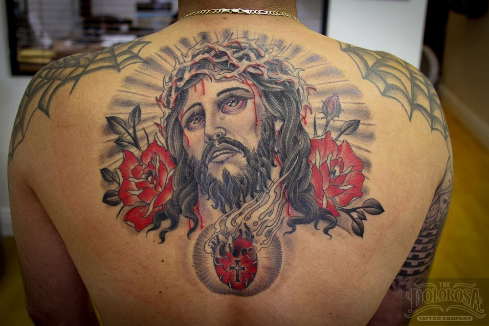 Innovative Jeses Christ Heart Tattoo On Upper Back For Boys