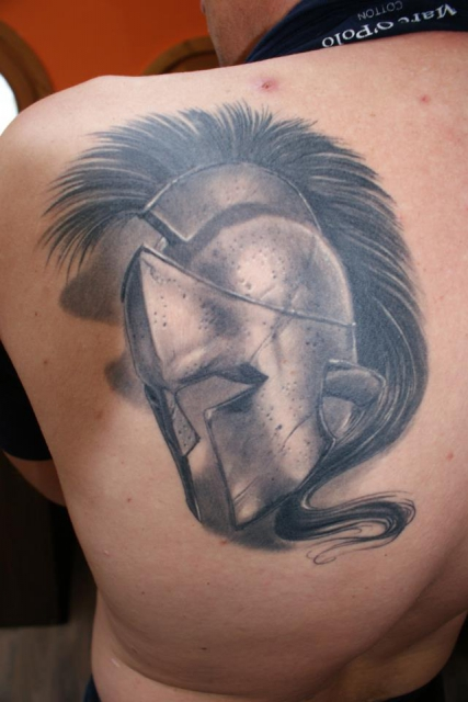 Inspirational Helmet Tattoo On Shoulder For Boys