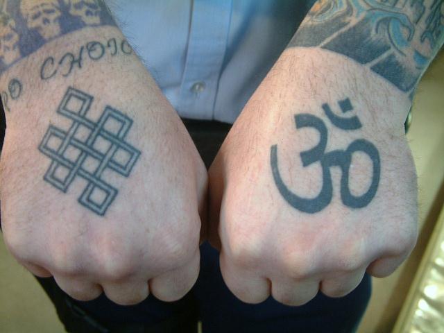 Inspirational Om Symbol Tattoo On Left Hand For Boys