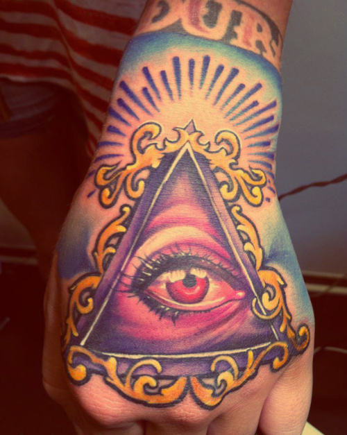 Inspiring Eye Triangle Hand Tattoo For Boys