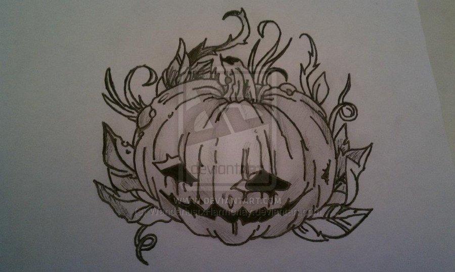 Latest Jack O Lantern Halloween Tattoo Design For Boys