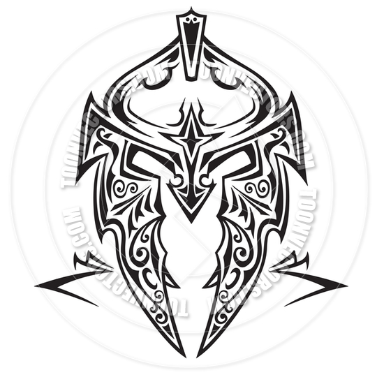 Latest Tribal Helmet Tattoo Design For Boys