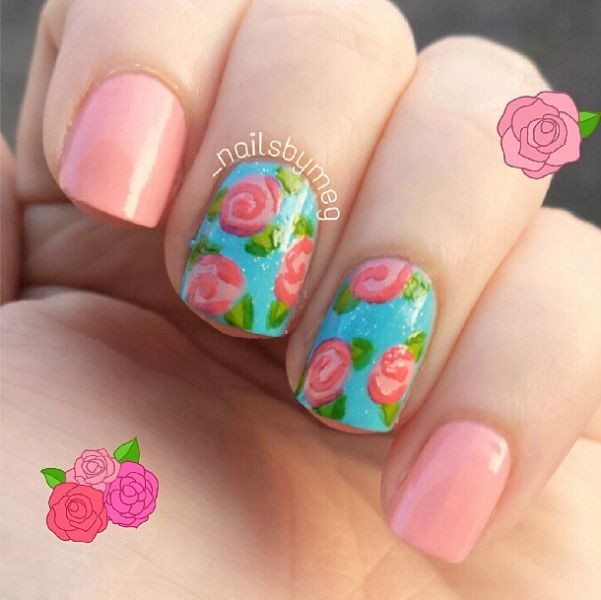 Lovely Baby Pink Color With Red Rose Accent Nail Art