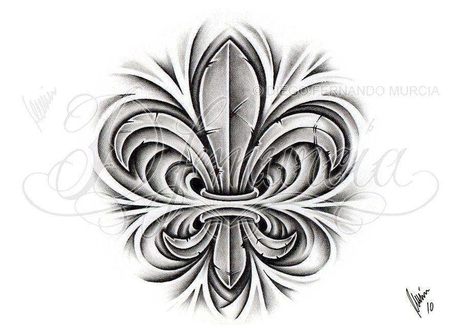 Lovely Custom Fleur De Lis Tattoo Design For Boys And Girls