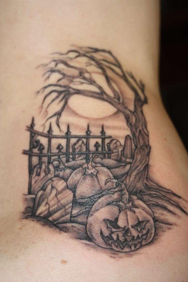 Lovely Halloween Tattoo Design For Girls