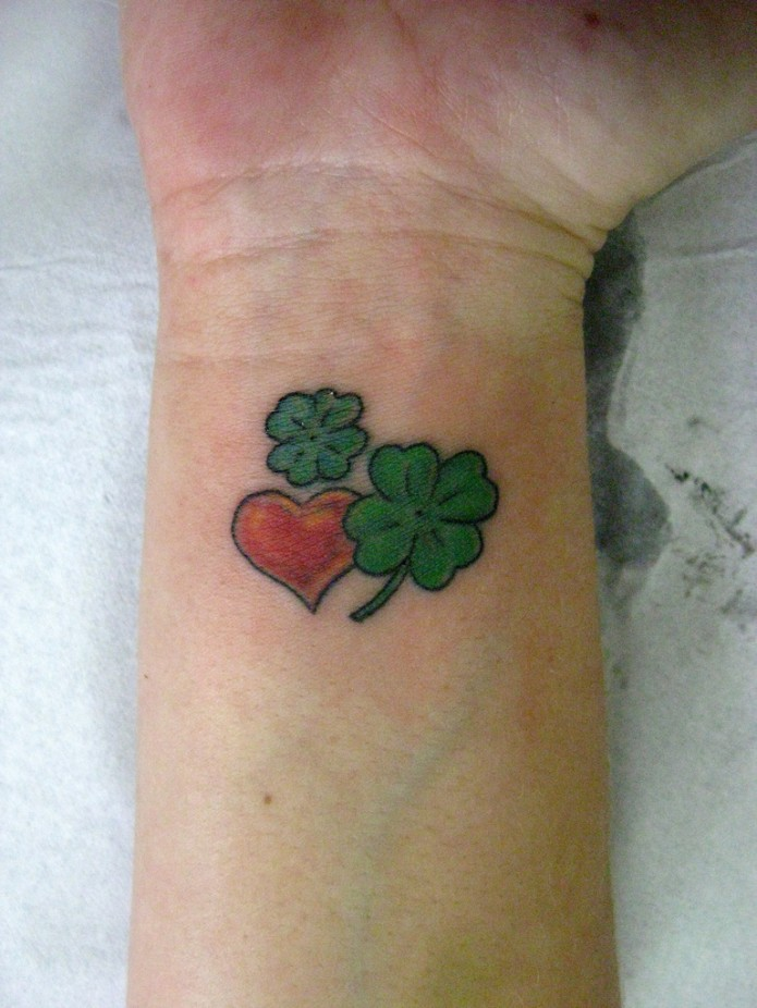 Maori Heart & Clovers Tattoo On Wrist For Boys