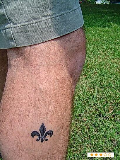Marvel Tiny Fleur De Lis Tattoo On Leg For Boys