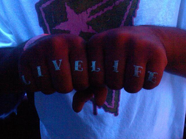 Marvelous Blacklight Tattoo On Fingers For Boys