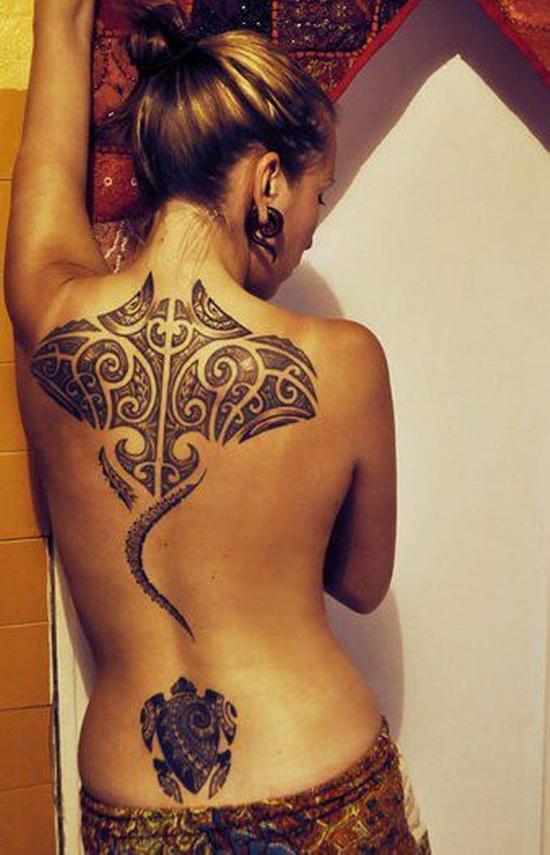 Marvelous Hawaiian Stingray Tattoo On Back For Girls