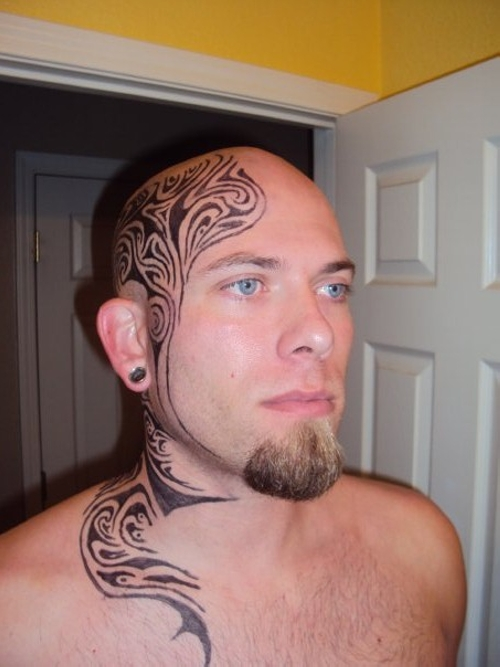Marvelous Stylish Tribal Tattoo On Head n Neck For Boys