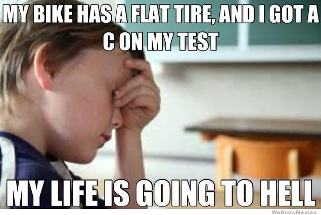 Meme My Bike Has A Flat Tire and I Got A C On My Test My Life Is Going To Hell Photo