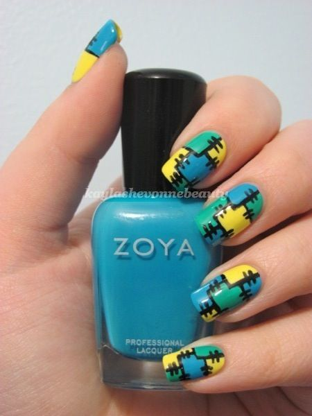 Mind Blowing Cloth Design Yellow And Blue Nails