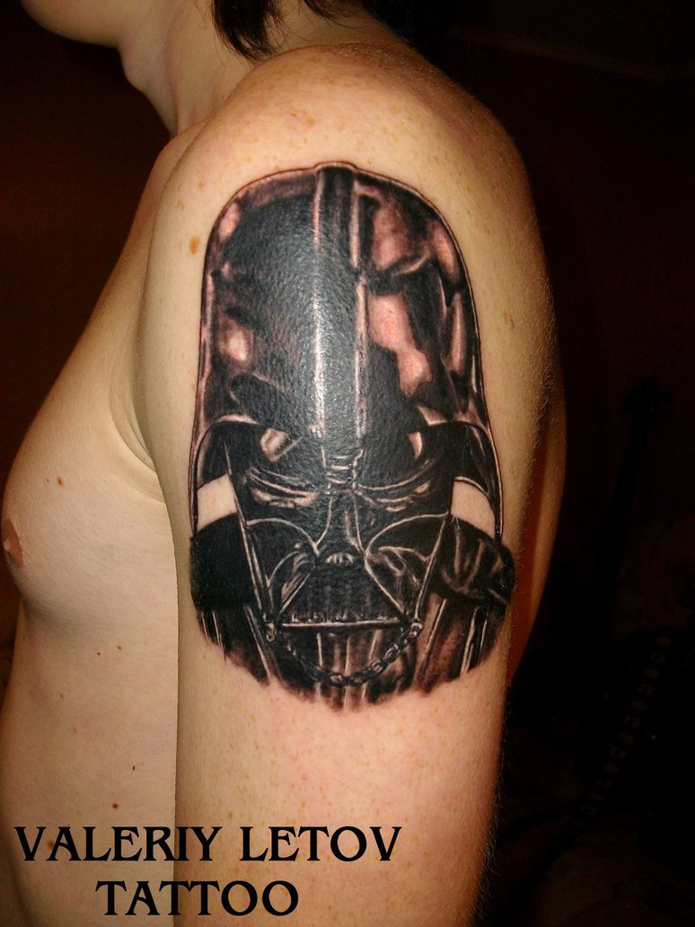 Mind Blowing Darth Vader Helmet Tattoo On Shoulder For Boys