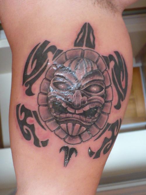 Mind Blowing Hawaiian Sea Turtle Tattoo On Muscles For Boys