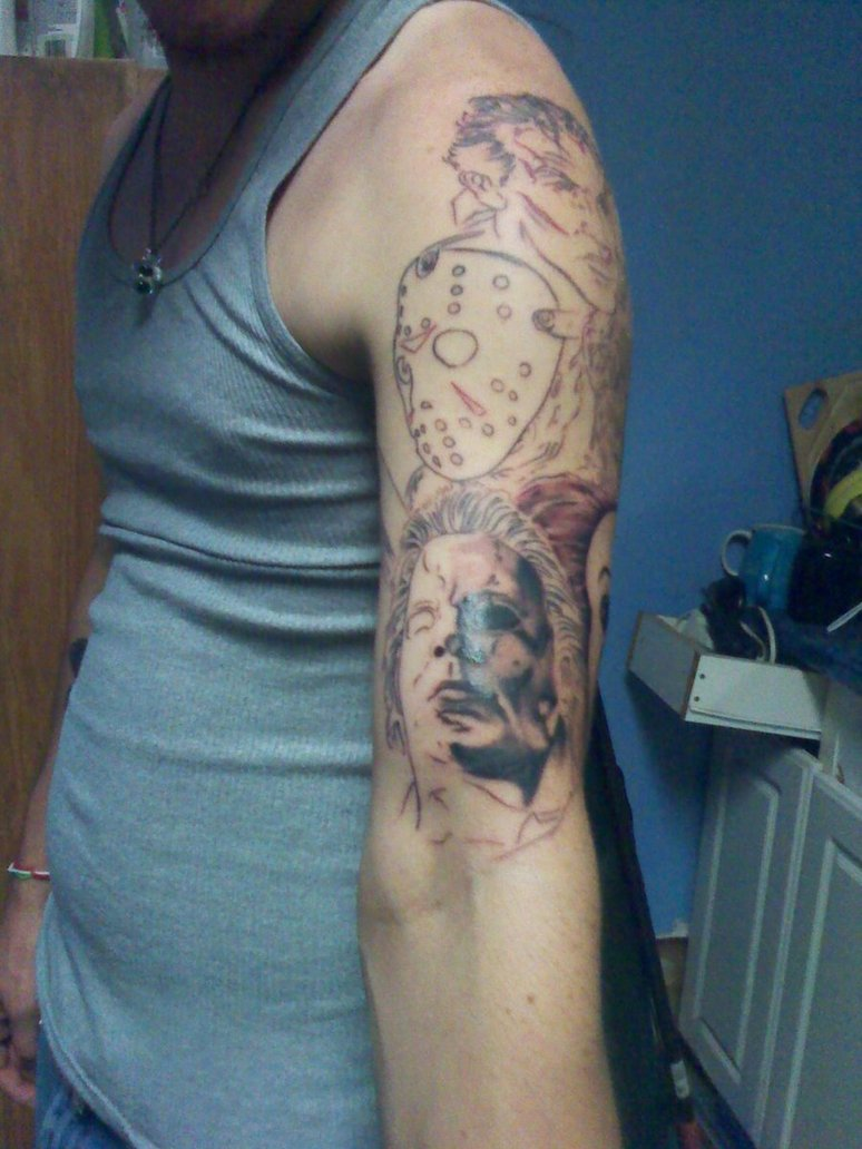 Mind Blowing Horror Sleeve Tattoo For Boys
