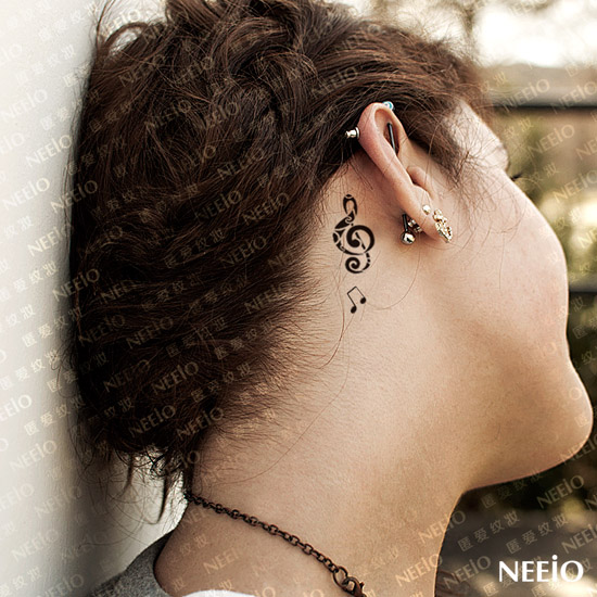 Mind Blowing Music Note Feminine Tattoo Behind Ear For