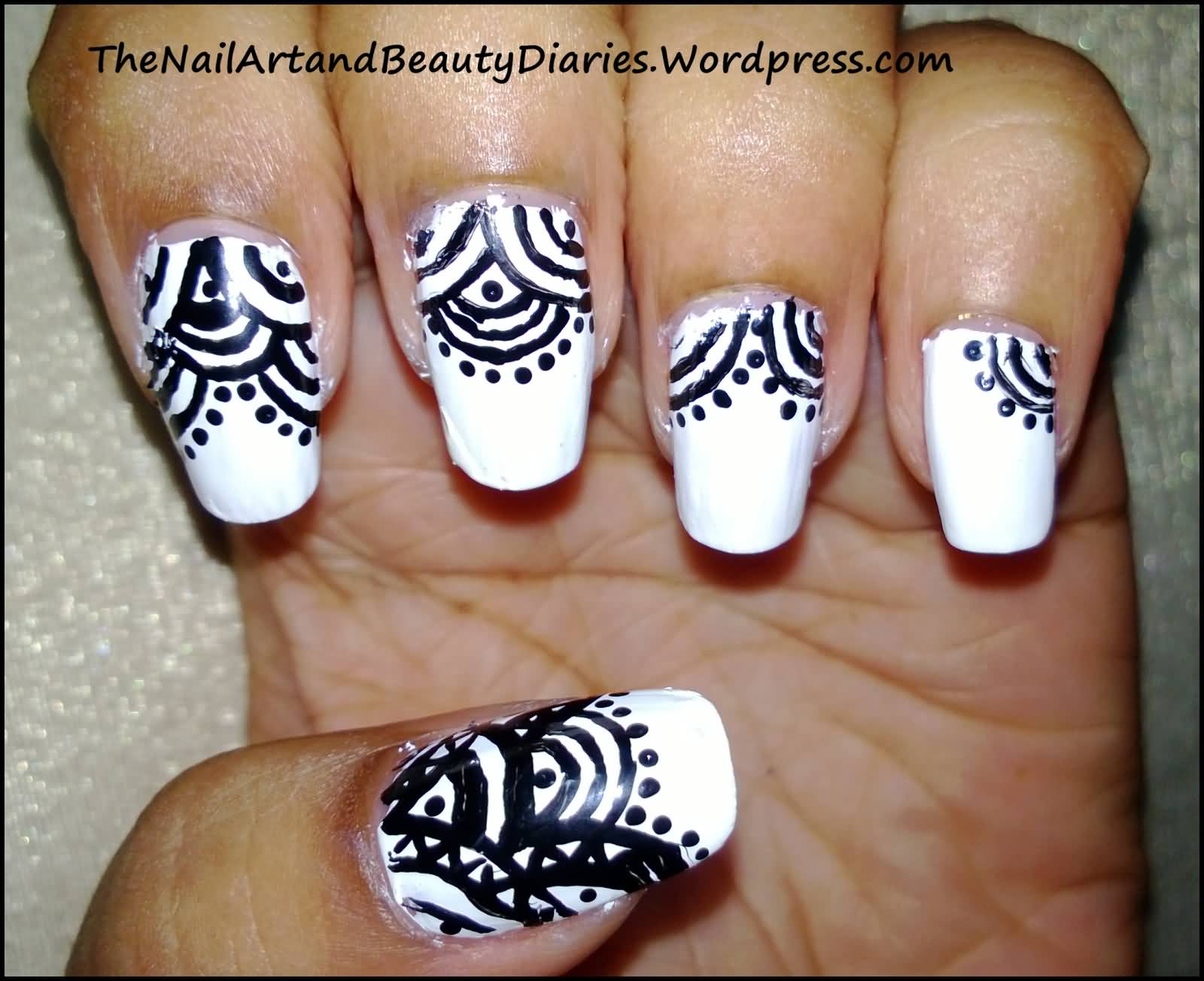 Most Amazing Black And White Nails With Home Made Design