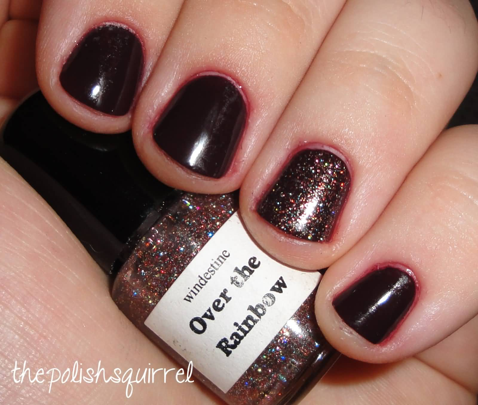Most Amazing Dark Brown Glitter Accent Nail Art