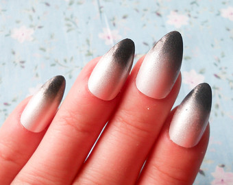most amazing dark color tips with almond shaped acrylic