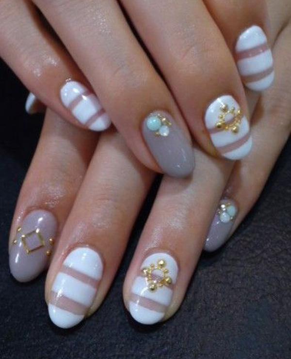 Most Amazing White Stripes With Stones Acrylic Short Nail Design