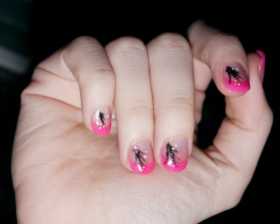 Most Awesome Pink Tip With Woman Acrylic Short Nail Design