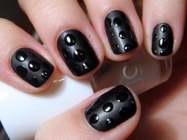 Most Beautiful Black Matte Nails With 3D Dot Design
