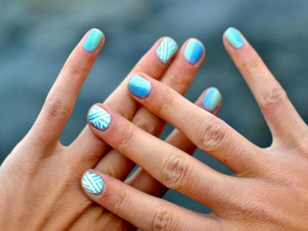 Most Beautiful Blue Nails With Short Nail Design