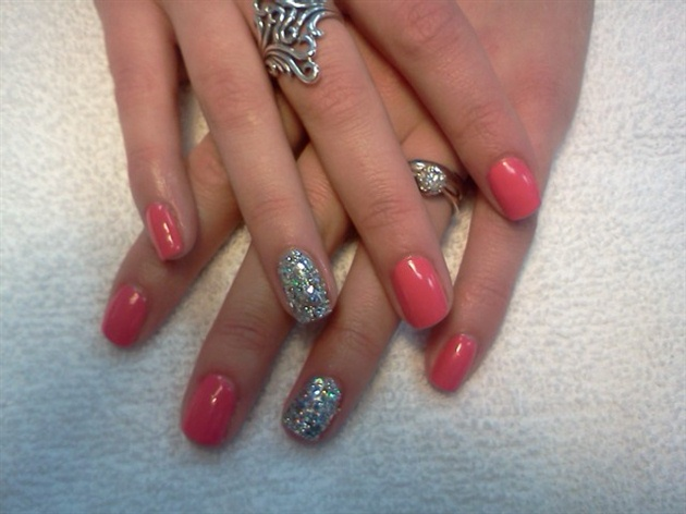 Most Beautiful Silver And Pink Glitter Accent Nail Art