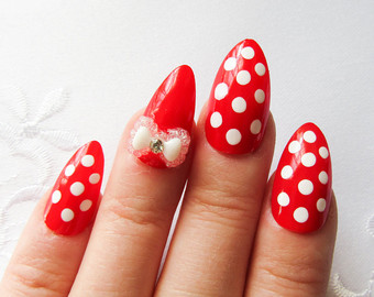 Most Cutest Dotted Design With A Bow Almond Shaped Acrylic Nail Art