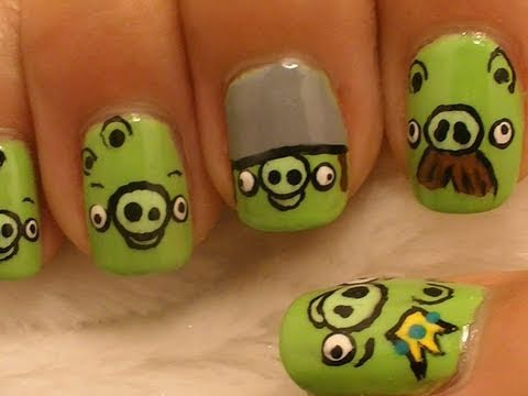 Most Cutest Pigs Of Angry Bird Nail Art Design