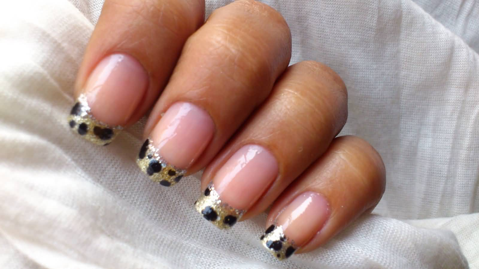 Most Eye Catching Black Nail Art With Leopard Print On Tip Only