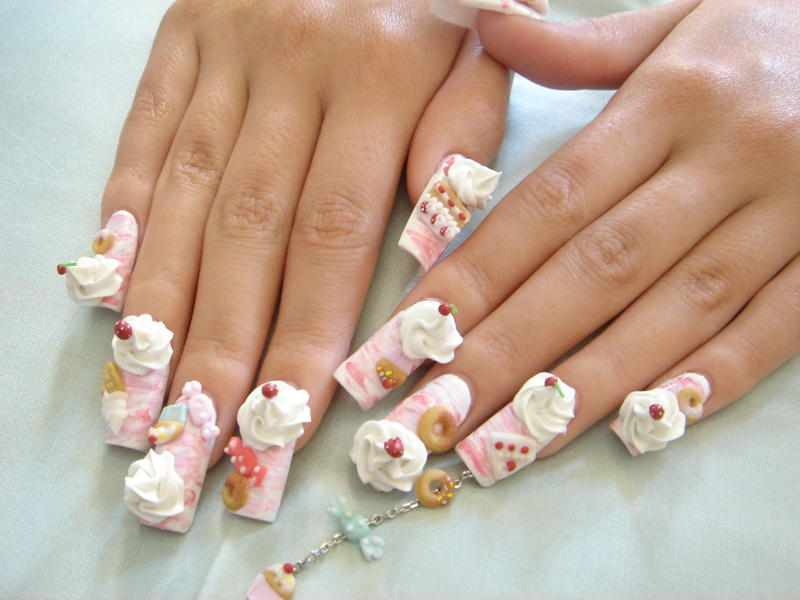 Most Funny Ice Cream And Cherry 3D Nail Art