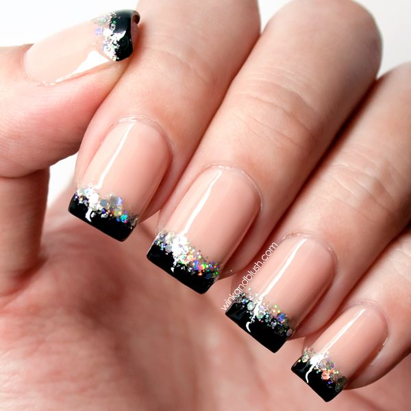 Most Greatest Black French Tip Nails With Sparkling Paint Design