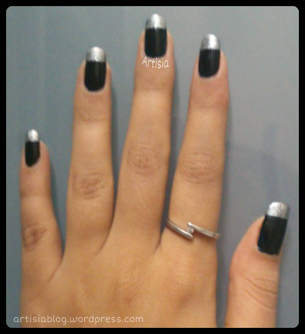 Most Incredible Black Matte Nails With Silver Color Tips