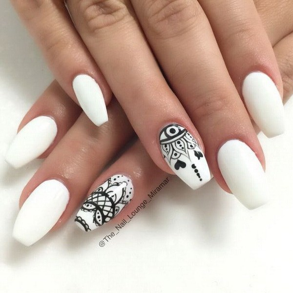 Most Incredible White And Black Nail Art With Marble Design