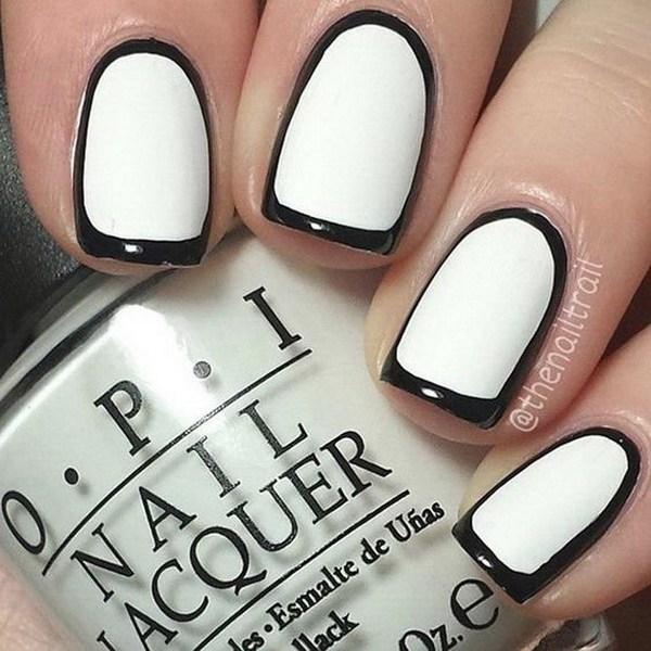Most Phenomenal White And Black Nail Art With Full White