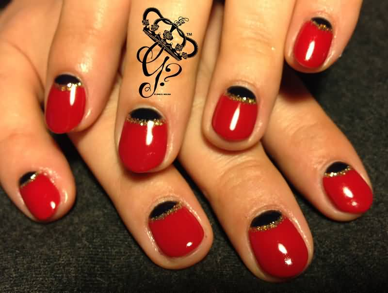 Most Special Red And Black Nails With Silver Lining