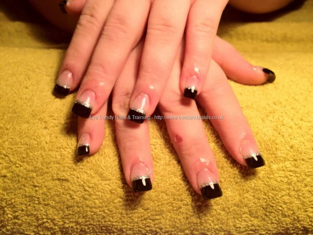 Most Stunning Black French Tip Nails With Naked Nails