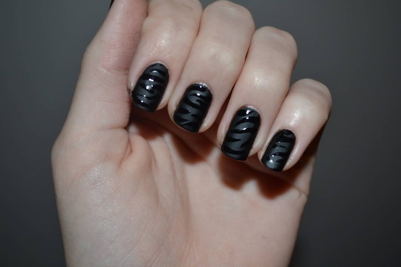 Most Stunning Black Matte Nails With Fire Design