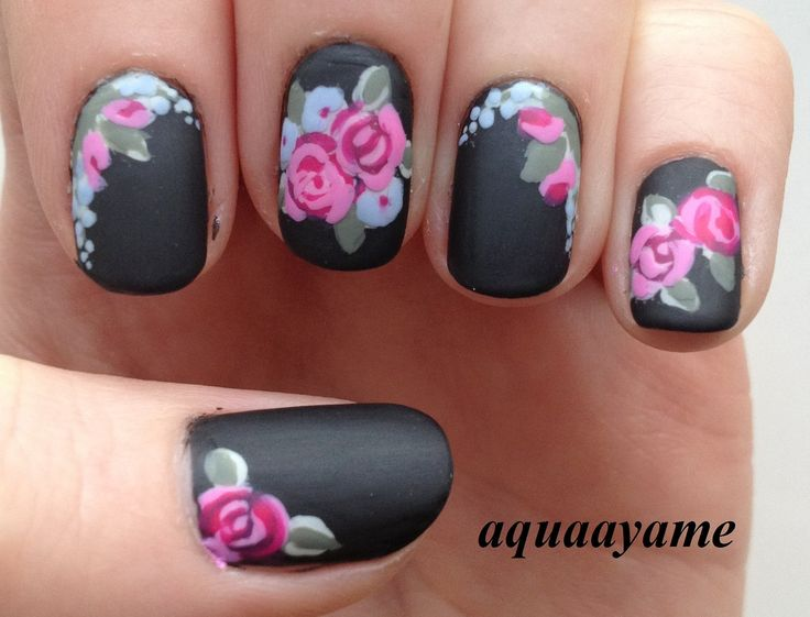Most stunning black matte nails with pink flower picsmine 736 561 in 50 incredible black matte nail art prinsesfo Gallery