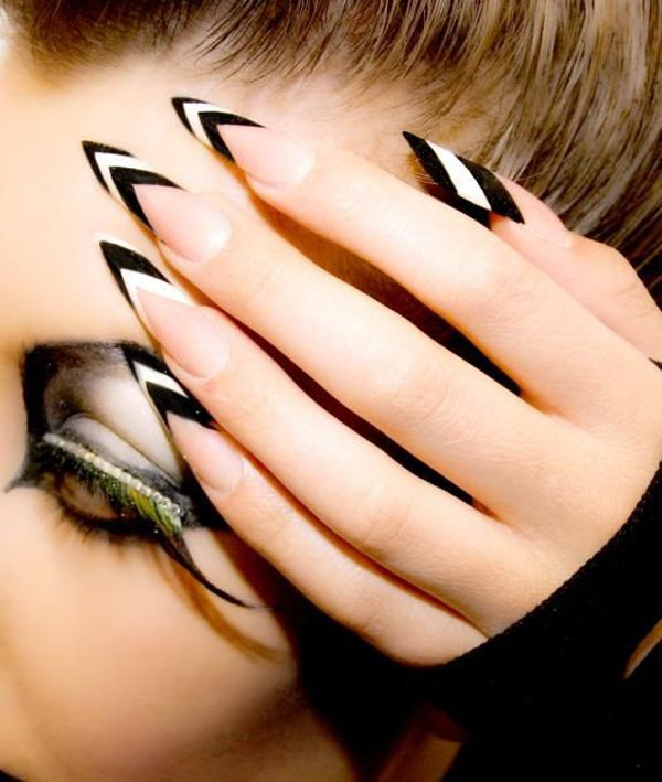 Most Stunning Black Nail Art With White Color Paint