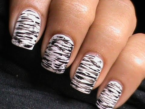 Most Stunning White And Black Nail Art With Scratches design