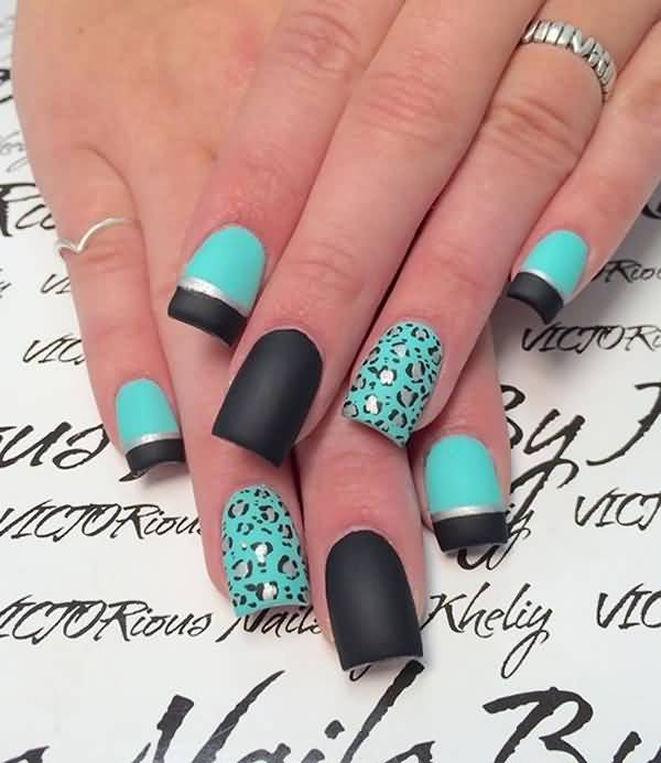 Most Superb Black French Tip Nails With Leopard Design
