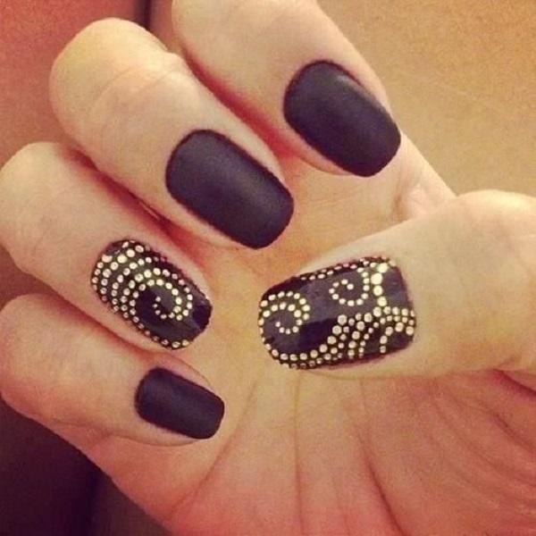 Most Tremendous Black Matte Nails With Golden Round Design
