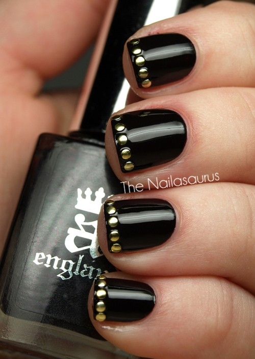 Most Trending Black Nail Art With Golden Dot