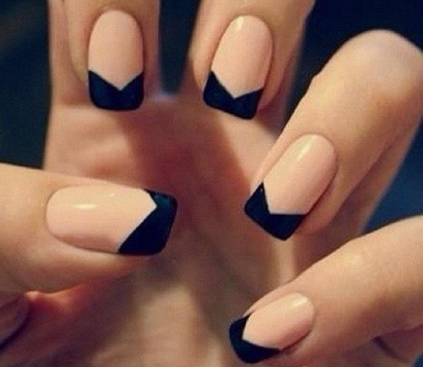 Most Trending Hair Style Shape Black French Tip Nails