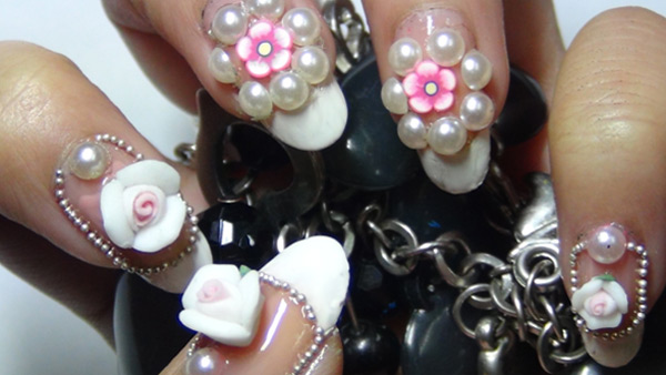 Most Trending Pearl With White Color Tip 3D Nail Art