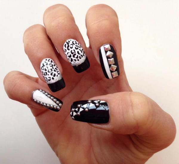 Most Unique Black And White Nail Art With Zebra Print