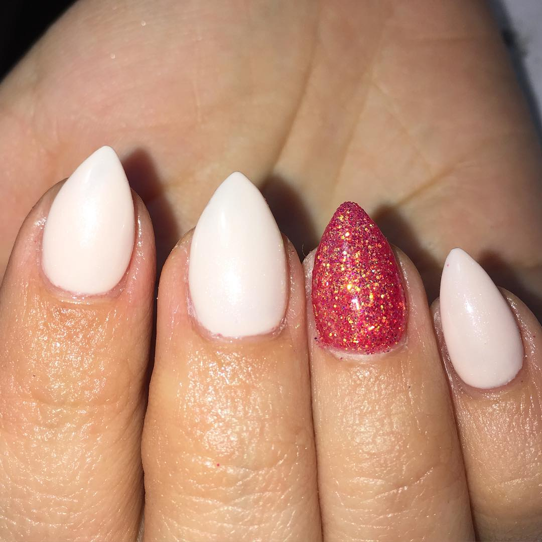 Most Wonderful Baby Pink With Red Paint Acrylic Short Nail Design