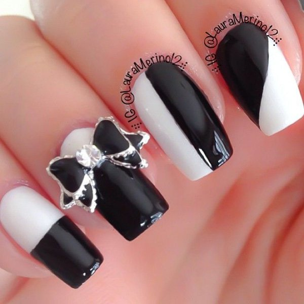 Most Wonderful Black Nail Art With 3D Bow